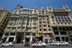 THEMENBILD - Madrid ist seit Jahrhunderten der geographische, politische und kulturelle Mittelpunkt Spaniens (siehe Kastilien) und der Sitz der spanischen Regierung. Hier residieren auch der König, ein katholischer Erzbischof sowie wichtige Verwaltungs- und Militärbehörden. Als Handels- und Finanzzentrum hat die Stadt nationale und internationale Bedeutung. Hier im Bild Taxis, Prachtbauten an der Calle Gran Via // THEMATIC PACKAGES - Madrid is the capital and largest city of Spain. The population of the city is roughly 3.3 million and the entire population of the Madrid metropolitan area is calculated to be around 6.5 million. It is the third-largest city in the European Union, after London and Berlin, and its metropolitan area is the third-largest in the European Union after London and Paris. The city spans a total of 604.3 km2. EXPA Pictures © 2014, PhotoCredit: EXPA/ Eibner-Pressefoto/ Weber<br /> <br /> *****ATTENTION - OUT of GER*****