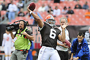 Sept. 19, 2010; Cleveland, OH, USA; Cleveland Browns quarterback Seneca Wallace (6) warms up prior to the game against the Kansas City Chiefs at Cleveland Browns Stadium. Mandatory Credit: Jason Miller-US PRESSWIRE