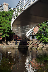 Manchester Bridgewater Canal and the foot bridge that links Slate wharf with Castle Street ..29  September 2012.Image © Paul David Drabble