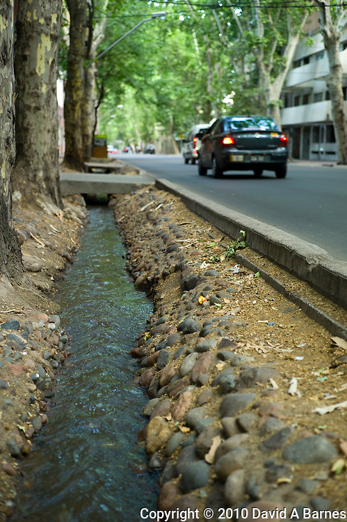 Irrigation canal in central Mendoza, Argentina