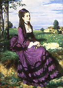 Woman in  Purple Dress', 1874. Pal Szinyei Merse (1845-1920) Hungarian painter. Woman in violet trimmed with black,  sitting on bank in flowery meadow. At her feet a Cowslip (Primula veris) the flower of Freya  goddess of love.