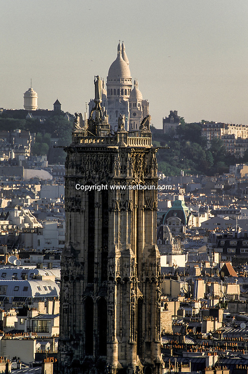 France. Paris elevated view from Notre dame cathedral. saint Jacques tower and the sacre Coeur. view from the spire of Notre dame cathedral