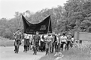 PMFJ 1981 marching to Wellingborough, Northants.