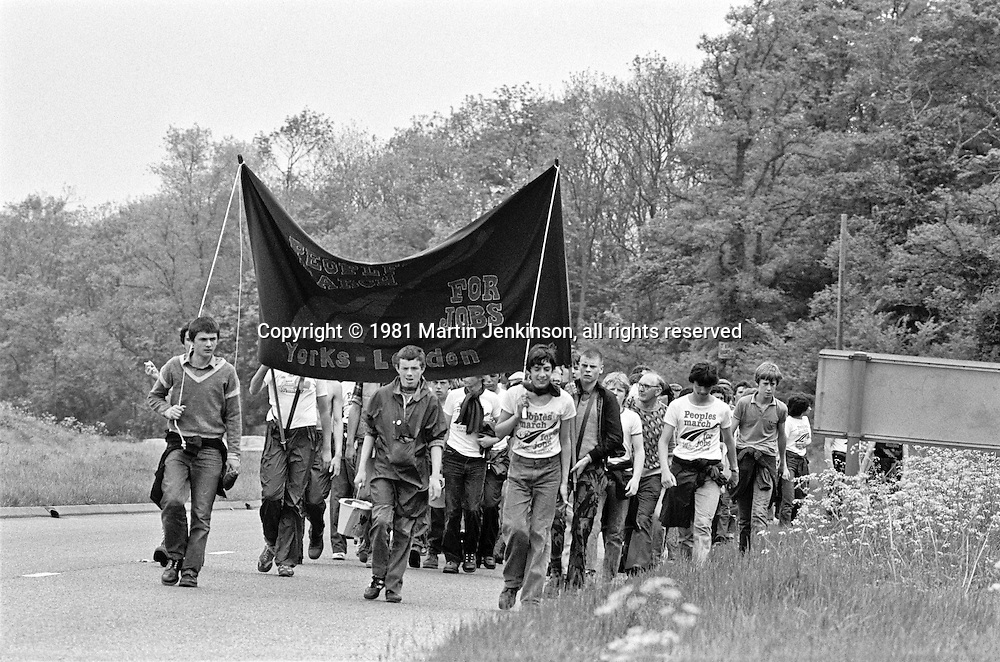 PMFJ 1981 marching to Wellingborough, Northants.