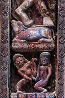 Wood carvings of Kama Sutra sexual positions, Durbar Square, Bhaktapur, Kathmandu Valley, Nepal.