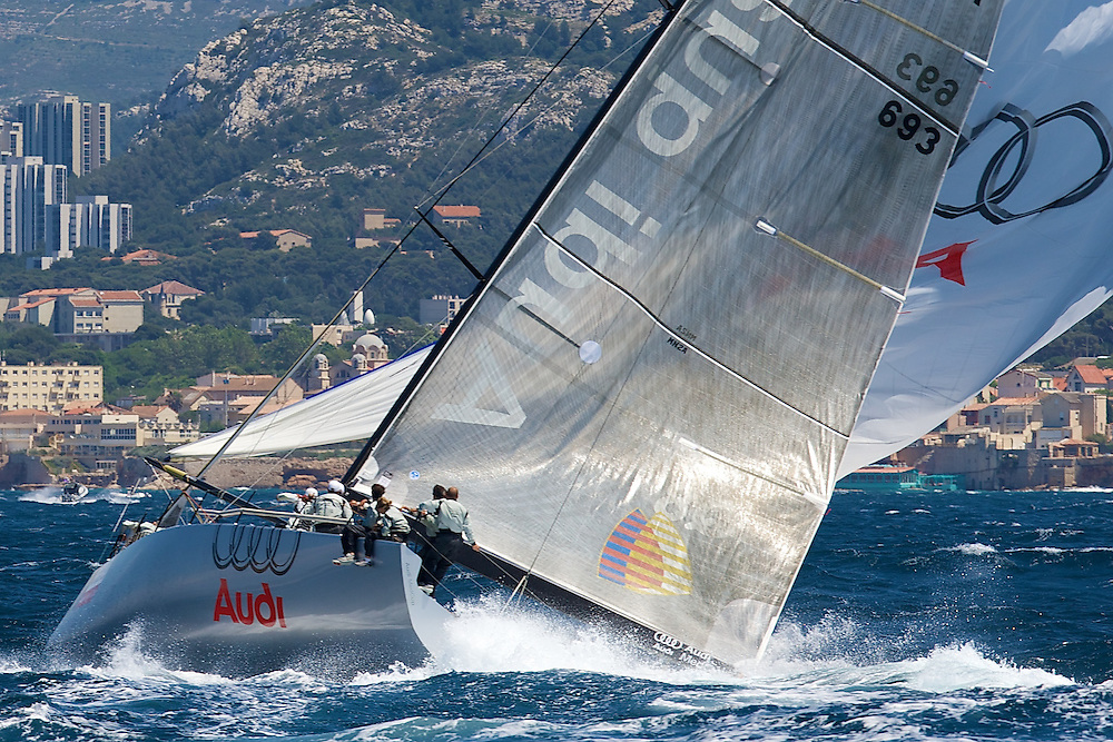 Audi TP52 Powered by Q8 on the first downwind leg of  Race 4 of the AUDI Medcup in Marseille