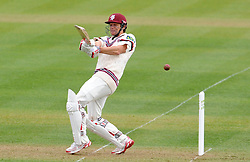 Somerset's James Hildreth pulls the ball off the bowling of Durham's John Hastings- Photo mandatory by-line: Harry Trump/JMP - Mobile: 07966 386802 - 12/04/15 - SPORT - CRICKET - LVCC County Championship - Day 1 - Somerset v Durham - The County Ground, Taunton, England.