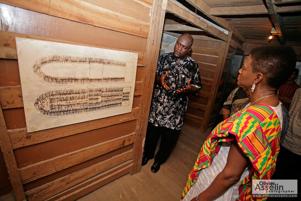 Leader of the House of Lords Baroness Valerie Amos listens to explanations from a tour guide as she looks at a graphic depicting the conditions in which slaves were transported on boats during a visit at the former slave fort of Cape Coast Castle in Cape Coast, Ghana, on Sunday Mar 4, 2007. Amos was visiting on the occasion of the 200th anniversary of the abolition of slave trade, which coincides with Ghana's 50th anniversary of independence...