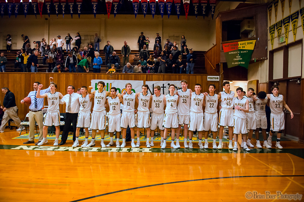 The Placer Hillman sing their alma mater after losing 85-80 to the Liberty Ranch Hawks in the DIV NorCal boys quarterfinal, Saturday Mar 10, 2018.  <br /> photo by Brian Baer
