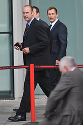 © Licensed to London News Pictures. 17/09/2012. London,UK.PC Simon Harwood (right), who was cleared of killing Ian Tomlinson during the G20 protests, arrives at Empress State Building for a disciplinary hearing..Photo credit : Thomas Campean/LNP..