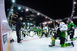 Fabian Dahlem talking to players at first practice before Ice Fest 2014 on Repulic Square for Winter Classic of HDD Telemach Olimpija called Pivovarna Union Ice Fest 2014, on December 15, 2014 on Republic Square, Ljubljana, Slovenia. (Photo By Matic Klansek Velej / Sportida.com)