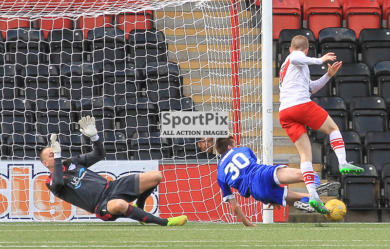 Airdrieonians V Peterhead  Scottish League One 29 August 2015;  Airdrie's Liam Watt tries to make it 2-0 during the Airdrieonians V Peterhead Ladbrokes Scottish League One match played at Excelsior Stadium, Airdrie.