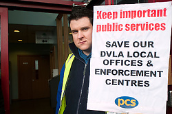 PCS members and supporters in Sheffield stage an eight-hour demonstration to protest  against the planned closure of the local office of the Driver and Vehicle Licensing Agency (DVLA). The protest was called to coincide with a visit to the premises by transport minister Mike Penning.on Monday (23 January) but according to Mike Mackie, assistant secretary of the PCS northern branch for the DVLA, the visit was canceled within 15 minutes of the Sheffield Demo being announced on the PCS website..Mike Mackie, assistant secretary of the PCS northern branch for the DVLA.www.pauldaviddrabble.co.uk..23 January 2012 -  Image © Paul David Drabble