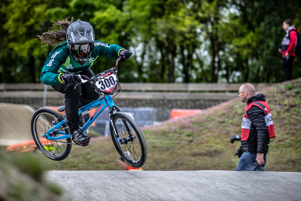 #300 (ALVES DOS SANTOS Julia) BRA during practice at Round 3 of the 2019 UCI BMX Supercross World Cup in Papendal, The Netherlands