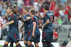 31.07.2013, Allianz Arena, Muenchen, Audi Cup 2013, FC Bayern Muenchen vs Sao Paulo, im Bild torjubel, treffer, tor, freude, goal, jubel, spass, freuen, jubeln, feiernd, applaudierend, Applaus, feiert, Emotion, l-r: Bastian SCHWEINSTEIGER #31 (FC Bayern Muenchen),David ALABA #27 (FC Bayern Muenchen), Toni KROOS #39 (FC Bayern Muenchen), Philipp LAHM #21 (FC Bayern Muenchen) und Mario MANDZUKIC #9 (FC Bayern Muenchen), // during the Audi Cup 2013 match between FC Bayern Muenchen and Sao Paulon at the Allianz Arena, Munich, Germany on 2013/07/31. EXPA Pictures © 2013, PhotoCredit: EXPA/ Eibner/ Christian Kolbert<br /> <br /> ***** ATTENTION - OUT OF GER *****