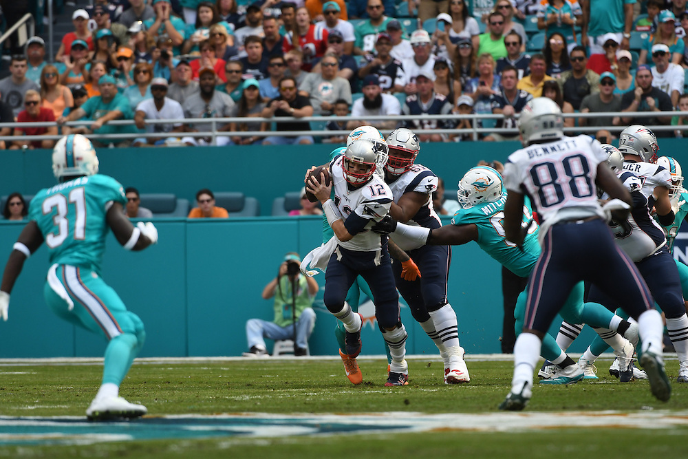 January 1, 2017: The NFL football game between the Miami Dolphins and New England Patriots at Hard Rock Stadium in Miami Gardens FL. The Patriots defeated the Dolphins 35-14.