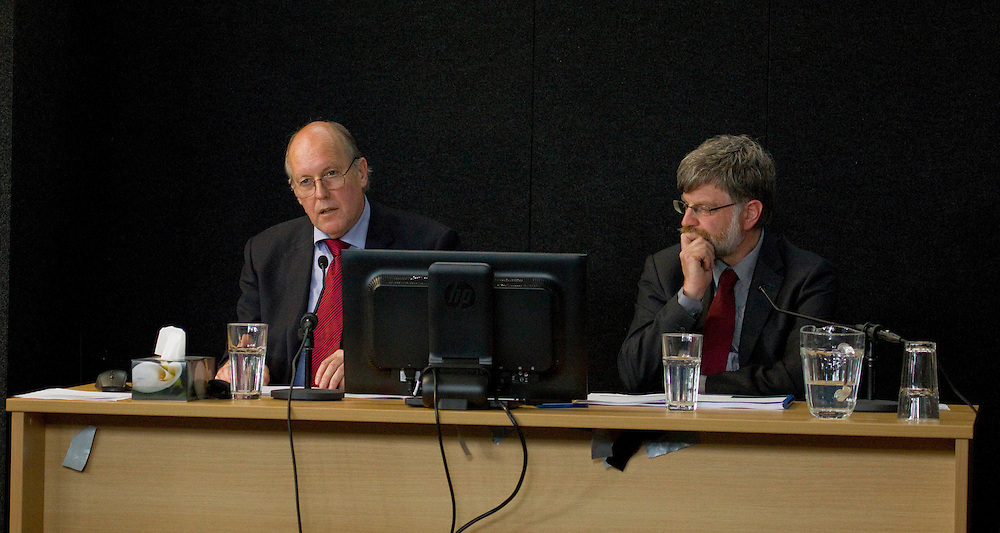 Dr Richard Sharpe, left, and Rob Jury, structural engineers, BECA, giving eveidence at the Canterbury Earthquakes Royal Commission, Christchurch, New Zealand, Monday, December 05, 2011. Credit:SNPA / The Press, John Kirk-Anderson  **POOL**