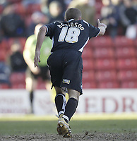 Photo: Aidan Ellis.<br />Barnsley v Swansea City. Coca Cola League 1. 04/03/2006.<br />Swansea's Andy Robinson celebrates his goal.