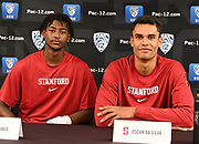 Stanford's Oscar da Silva (right) and Daejon Davis (left) during Pac-12 Basketball Media Day, Tuesday, Oct. 8, 2019, in San Francisco, Calif. (Dylan Stewart/Image of Sport)