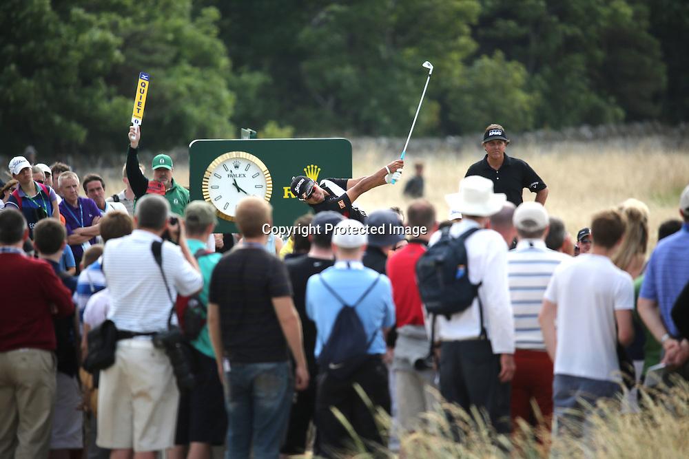 (L-R) Hideki Matsuyama (JPN), Phil Mickelson (USA),<br /> JULY 18, 2013 - Golf :<br /> Hideki Matsuyama of Japan in action on 7th hole during the first round of the 142nd British Open Championship at Muirfield in Gullane, East Lothian, Scotland. (Photo by Koji Aoki/AFLO SPORT)