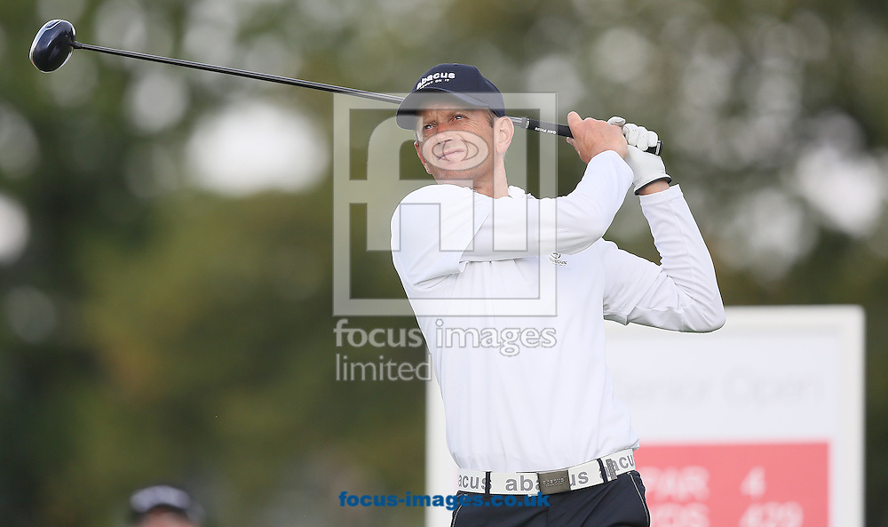 Picture by Paul Gaythorpe/Focus Images Ltd +447771 871632<br /> 04/10/2013<br /> Steen Tinning on the 10th tee on Day 1 of the English Senior Open at Rockliffe Hall, Darlington.