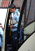 Cristiano Ronaldo of Real Madrid arrives (with is Gucci man bag) on the team bus before he makes his debut at the Pre Season Friendly between Shamrock Rovers and Real Madrid at Tallaght Stadium on July 20, 2009 in Dublin, Ireland.