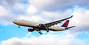 An Airbus A330-323, operated by Delta Air Lines, on final approach to Atlanta's Hartsfield-Jackson International Airport.  Created by aviation photographer John Slemp of Aerographs Aviation Photography. Clients include Goodyear Aviation Tires, Phillips 66 Aviation Fuels, Smithsonian Air & Space magazine, and The Lindbergh Foundation.  Specialising in high end commercial aviation photography and the supply of aviation stock photography for commercial and marketing use.