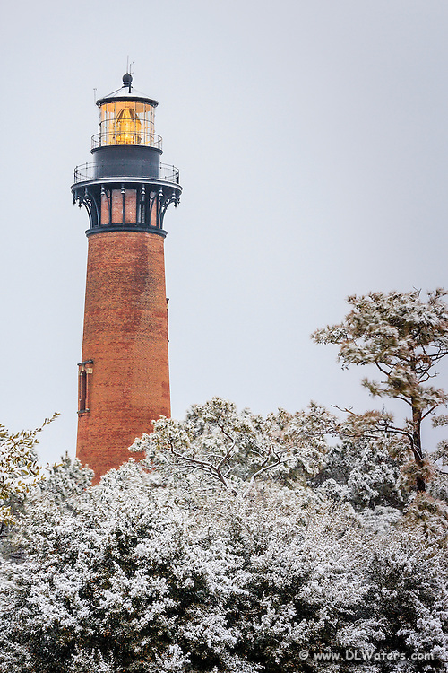 Currituck Beach Lighthouse in a snow storm.