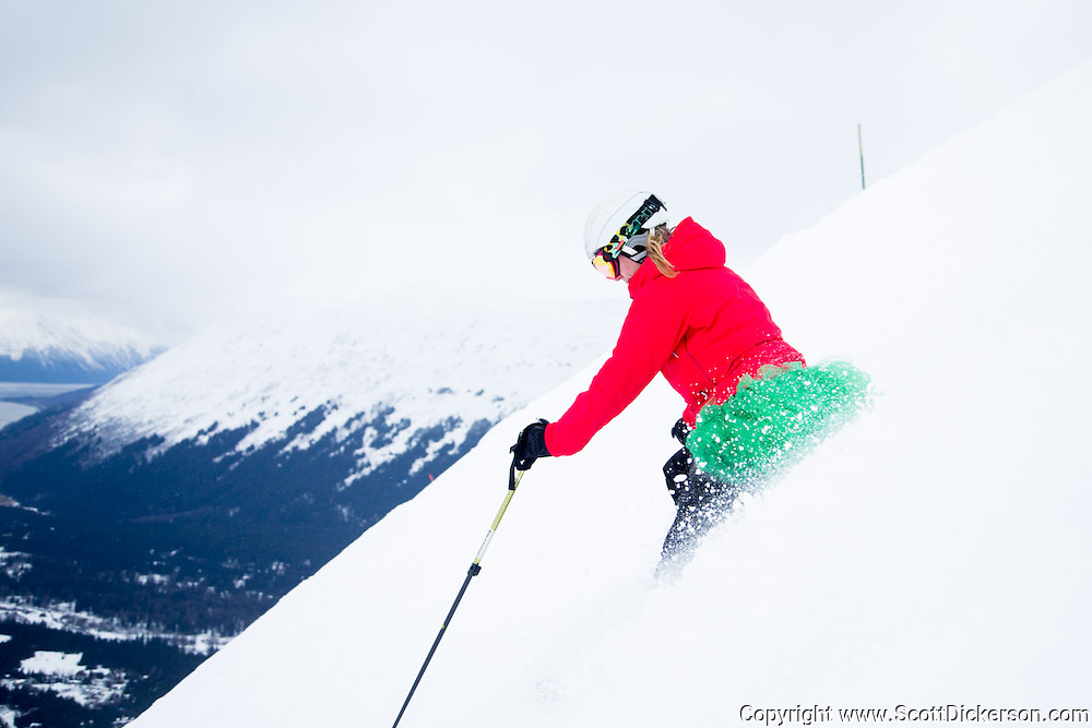 Dana Stahla. Female skiers enjoying a day of skiing at Alyeska Resort in Girdwood, Alaska as part of the  Get the Girls Out campaign organized by SheJumps.