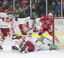 22.03.2019, Stadthalle, Klagenfurt, AUT, EBEL, EC KAC vs HCB Suedtirol Alperia, Viertelfinale, 5. Spiel, im Bild Matti KUPARINEN (HCB Suedtirol Alperia, #22), Jacob SMITH (HCB Suedtirol Alperia, #1), Niki KRAUS (EC KAC, #80), Paul GEIGER (HCB Suedtirol Alperia, #3) // during the Erste Bank Icehockey 5th quarterfinal match between EC KAC and HCB Suedtirol Alperia at the Stadthalle in Klagenfurt, Austria on 2019/03/22. EXPA Pictures © 2019, PhotoCredit: EXPA/ Gert Steinthaler