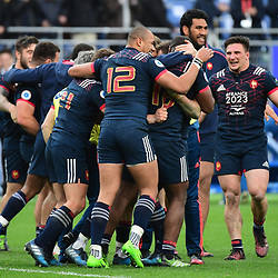 France celebrate winning in the 18th minute of injury time during the RBS Six Nations match between France and Wales at Stade de France on March 18, 2017 in Paris, France. (Photo by Dave Winter/Icon Sport)