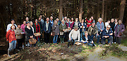 Mushroom Foraging at Knockranny Woods. Michael Mulholland, the west of Ireland mushroom expert with a large group who attended the Forage at Knockranny Woods . Pic: Michael Mc Laughlin