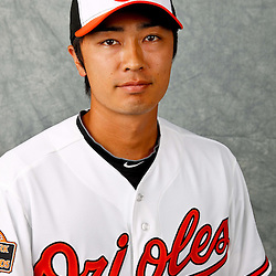 March 1, 2012; Sarasota, FL, USA; Baltimore Orioles starting pitcher Tsuyoshi Wada (18) poses for a portrait during photo day at the spring training headquarters.  Mandatory Credit: Derick E. Hingle-US PRESSWIRE