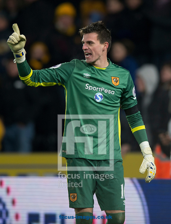 Hull City goalkeeper Eldin Jakupovic celebrates after saving a penalty kick during the EFL Cup match at the KCOM Stadium, Hull<br /> Picture by Russell Hart/Focus Images Ltd 07791 688 420<br /> 29/11/2016