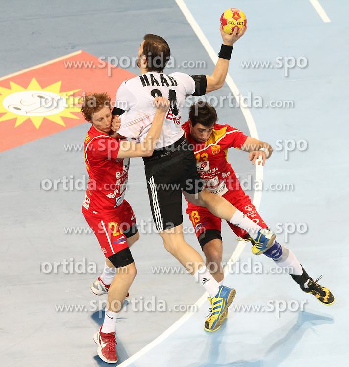 20.01.2013 Barcelona, Spain. IHF men's world championship, eighth.final. Picture show Michael Haass  in action during game between Germany  vs FYRO Macedonia at Palau st Jordi / Sportida Photo Agency