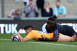 Jacob Umaga of Wasps scores a try against Saracens - Mandatory byline: Patrick Khachfe/JMP - 07966 386802 - 14/09/2019 - RUGBY UNION - Franklin's Gardens - Northampton, England - Premiership Rugby 7s (Day 2)