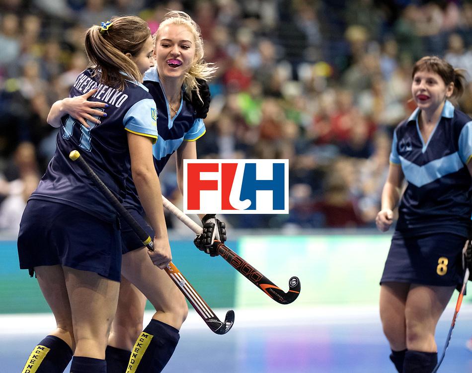 BERLIN - Indoor Hockey World Cup<br /> Quarterfinal 2: Ukraine - Switzerland<br /> foto: Ukraine celebrate.<br /> WORLDSPORTPICS COPYRIGHT FRANK UIJLENBROEK