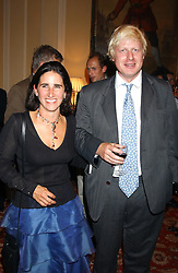 MR & MRS BORIS JOHNSON at a party to celebrate the publication o'Seventy Two Virgins' by Boris Johnson held at The Travellers Club, 106 Pall Mall, London on 14th September 2004.<br /><br />NON EXCLUSIVE - WORLD RIGHTS