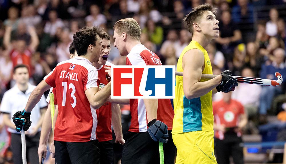 BERLIN - Indoor Hockey World Cup<br /> Semi-final 2: Australia - Austria<br /> foto: Austria celebrating the 0-1.<br /> WORLDSPORTPICS COPYRIGHT FRANK UIJLENBROEK