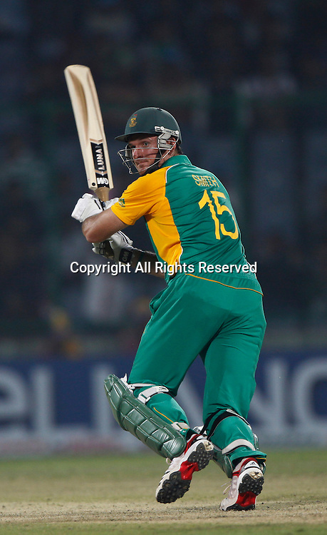 24.02.2011 Cricket World Cup from the Feroz Shah Kotla stadium in Delhi. South Africa v West Indies. Graeme Smith captain of South Africa plays a shot  during the match of the ICC Cricket World Cup between South Africa and West Indies
