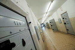 Prisoner cells corridor at former East German state secret security police or STASI prison at Hohenschönhausen in Berlin Germany