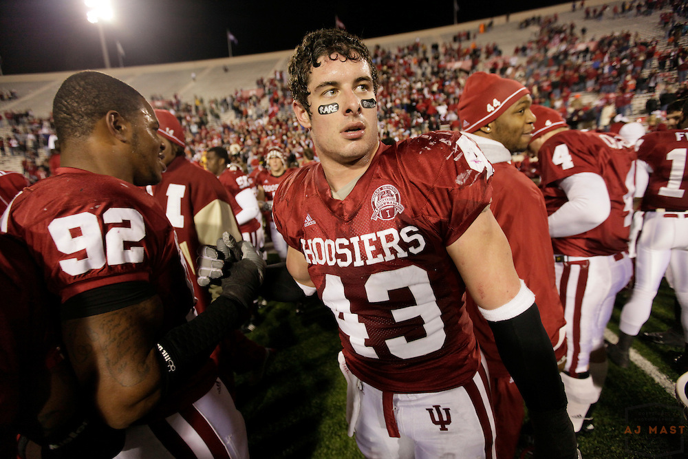 17 October 2009: Indiana linebacker Matt Mayberry (43) as the Indiana Hoosiers played the Illinois Illini in a college football game in Bloomington, Ind.