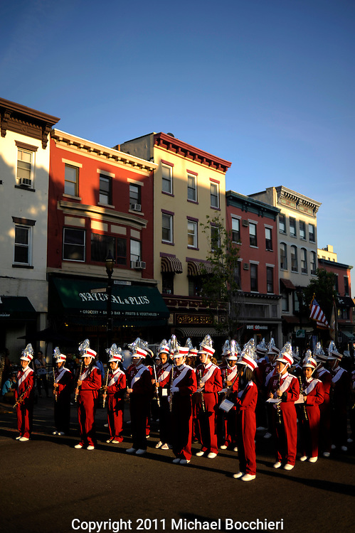 HOBOKEN, NJ - May 25:  The Hoboken High School Marching Band prepares to march in the Hoboken Memorial Day Parade along Washington Street on May 25, 2011 in HOBOKEN, NJ. Throngs of city officials, public safety employees and area high school marching bands marched in the city's annual Memorial Day parade. (Photo by Michael Bocchieri/Bocchieri Archive)