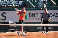 Jo Wilfried TSONGA et son coach Thierry ASCIONE   - 21.05.2015 -  Roland Garros 2015<br />Photo : Nolwenn Le Gouic / Icon Sport