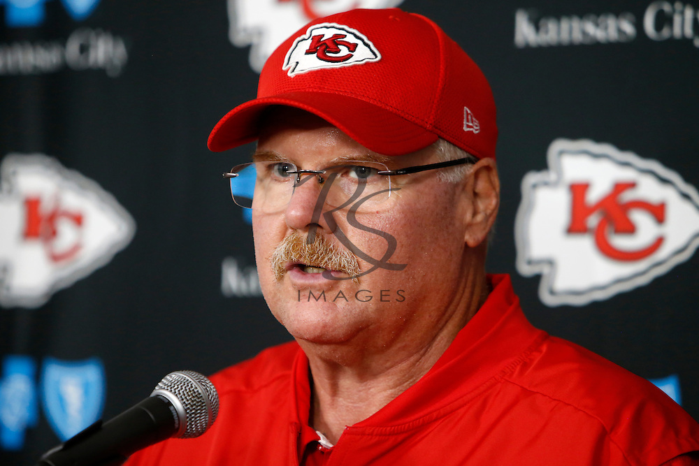 Kansas City Chiefs head coach Andy Reid speaks during a news conference following a preseason NFL football game against the Los Angeles Rams, Saturday, Aug. 20, 2016, in Los Angeles. The Rams won 21-20. (AP Photo/Rick Scuteri)