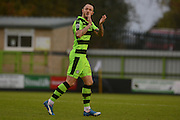 Forest Green Rovers striker Rhys Murphy (39) applauds fans during the Vanarama National League match between Forest Green Rovers and Dagenham and Redbridge at the New Lawn, Forest Green, United Kingdom on 29 October 2016. Photo by Alan Franklin.