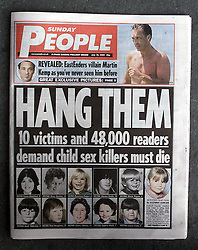 The SUNDAY PEOPLE naming Sex Offenders, July 30, 2000. Photo by Andrew Parsons/i-Images.