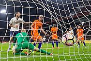 Leonardo Bonucci of Italy (L) scores 1-2, Jeroen Zoet of Netherlands (2L), Davy Klaassen of Netherlands (M) , voetbal, 28-3-2017, vriendschappelijke interland Nederland - Italie 1-2, Amsterdam Arena