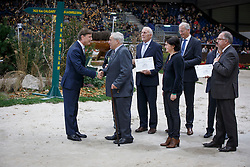 Willy Taets, (BEL) , breeder of Hello Sanctos (sBs), (Quasimodo vd Molendreef  - Nasia vd Gravenhof x Nabab de Rêve) with Dr Marc Pierson, president of SBS. Receiving a Rolex watch from Mr. Laurent Delonney, Directeur adjoint Sponsoring<br /> WBSFH Prizegiving<br /> Genève 2015<br /> © Hippo Foto - Dirk Caremans<br /> 12/12/15