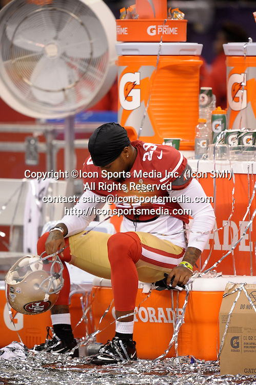 Feb. 3, 2013 - New Orleans, LA, USA - The San Francisco 49ers' Chris Culliver sits in dejection after a 34-31 loss to the Baltimore Ravens in Super Bowl XLVII at the Mercedes-Benz Superdome in New Orleans, Louisiana, Sunday, February 3, 2013